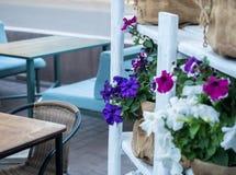 街道用五颜六色的花装饰的咖啡馆内部,软的选择聚焦,被弄脏的背景 关闭摄影  免版税图库摄影