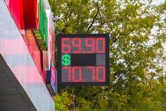 街道电子板-每日交换率 现金货币的价格在银行兑换室 库存图片