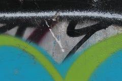 街道画上色墙壁背景的片段纹理 免版税库存图片