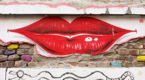 街道画嘴唇 库存图片