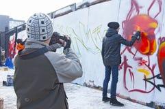 街道画堵塞 免版税库存照片
