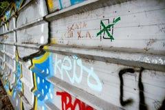街道画墙壁纹理的段 免版税图库摄影