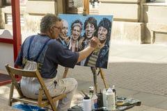 街道画家在萨格勒布,克罗地亚 库存图片