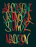 街道画滑稽的字体 手拉的五颜六色的信件 免版税库存照片