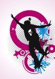 街道画紫红色溜冰者时髦的标签 免版税库存照片
