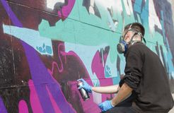 街道画绘画的过程 详细资料 免版税库存照片