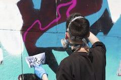 街道画绘画的过程 详细资料 免版税库存图片