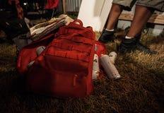 街道画艺术家袋子油漆 图库摄影