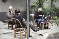 街道的中国妇女 图库摄影