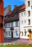 街道的看法在老镇,里加,拉脱维亚 库存图片
