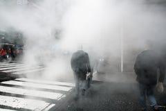 从街道的蒸气地下在NYC 库存图片