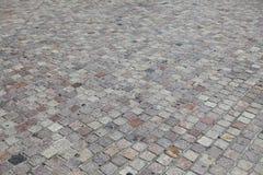 街道石头块路面纹理和背景 免版税库存照片