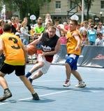 街道篮球节日在梁赞 库存图片