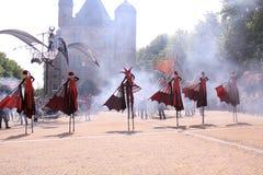 街道舞蹈家荷兰城市deventer 库存照片