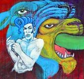 街道艺术人和狮子 免版税库存照片