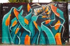 街道艺术和街道画在柏林,德国 免版税库存照片