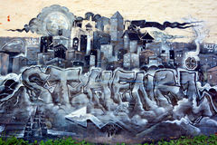 街道艺术圣徒亨利邻里在蒙特利尔 库存照片