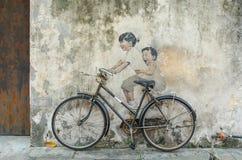 街道艺术在乔治城,槟榔岛 免版税库存照片