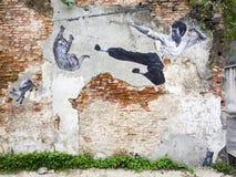 街道艺术壁画在乔治城,槟榔岛,马来西亚 免版税库存图片