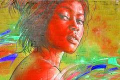 街道艺术妇女 免版税图库摄影