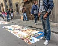 街道艺术家在佛罗伦萨,意大利。 图库摄影