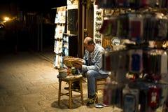 街道艺术家在Afytos,希腊 库存照片