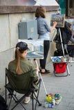 街道艺术家画图片 图库摄影