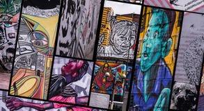 街道艺术拼贴画在波哥大 免版税库存图片