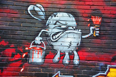 街道艺术蒙特利尔兔子 免版税库存照片