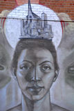 街道艺术蒙特利尔妇女 免版税库存照片