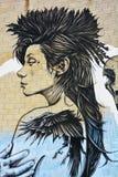 街道艺术蒙特利尔妇女 免版税库存图片
