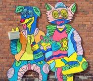街道艺术蒙特利尔小丑 免版税库存照片
