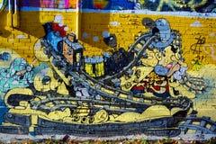街道艺术蒙特利尔火车 免版税库存照片