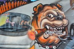 街道艺术蒙特利尔牛头犬 库存照片