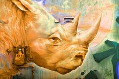 街道艺术蒙特利尔犀牛 免版税库存图片