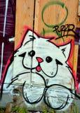 街道艺术蒙特利尔猫 库存照片