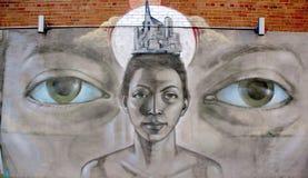 街道艺术蒙特利尔面对 库存图片