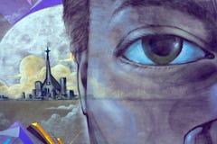 街道艺术蒙特利尔面对 免版税图库摄影
