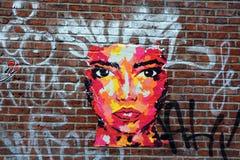 街道艺术蒙特利尔fumny妇女 免版税库存照片