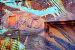 街道艺术蓝色人 库存照片