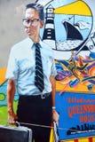 街道艺术跌倒的迈克尔・道格拉斯 库存照片