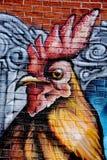 街道艺术雄鸡 免版税图库摄影
