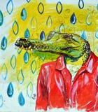 街道艺术鳄鱼 库存照片