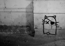 街道艺术,猫街道画 库存照片
