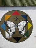 街道艺术,蝴蝶,雷克雅未克,冰岛 库存图片