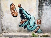 街道艺术绘画在乔治城,槟榔岛,马来西亚 库存图片