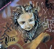 街道艺术-夫人面孔 库存照片