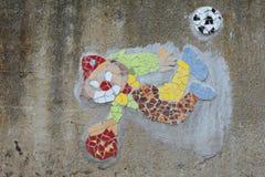 街道艺术-马赛克& x28; Tapestry& x29;小丑,捷克 免版税库存图片