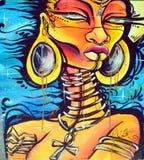 街道艺术girafe妇女 库存图片
