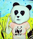 街道艺术WTF熊猫 图库摄影